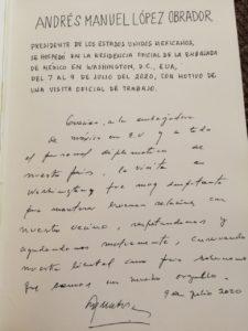 Carta de AMLO para embajadora de México y diplomáticos tras visita a EU