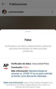 """Instagram """"censura"""" a Paty Navidad por publicar Fake News sobre el Covid-19"""
