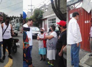 Noroña estuvo sin cubrebocas con personas de Iztapalapa