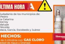 Emiten alerta por el robo de cilindros de gas cloro en NL